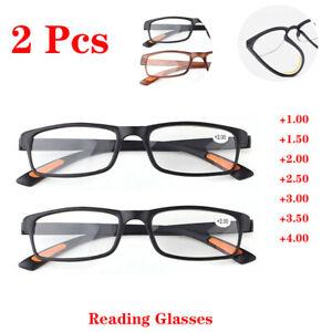 2pcs Reading Glasses Womens TR90 Plastic Frame +1.0 +1.5 +2.0 +2.5 +3.0 +4.0