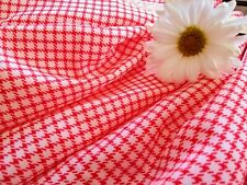 Vintage Nylon Fabric Tiny Red And White Check 3+Yds