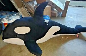 "Melissa And Doug Jumbo Orca Whale Plush 42"" Long Black & White."