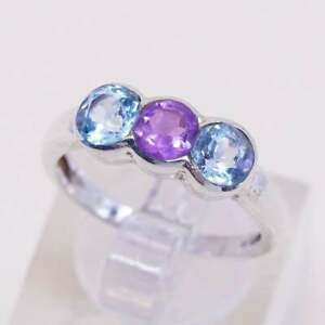 Size 6.25, vintage sterling 925 silver handmade band ring with topaz amethyst
