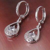 New fashion white sapphire dangle 18k white gold filled charming earring