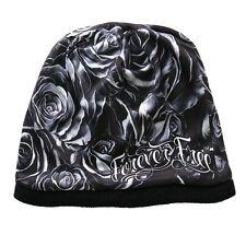 Ladies Forever Free ROSES Beanie Knit Skull Cap Motorcycle Biker Hat Ski Snow