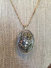 Collectible Reed and Barton  Damascene Pendant Necklace October Cosmos