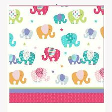 """PATCHWORK ELEPHANTS 66"""" x 54"""" LINED CURTAINS MULTI PINK COLOURFUL GIRLS"""