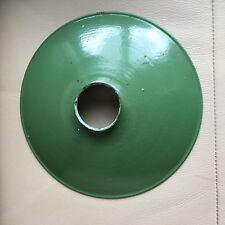 Vintage Mid Century French Green Enamel Industrial Commercial Light Lamp Shades