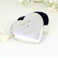 Personalised Decorative Silver Heart Trinket Box Engraved Gift For Her