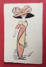 CPA. Illustrateur HÉLÈNE. Fait Main. Jeune Femme. Silhouette Obus. Chapeau Plume