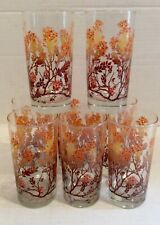 Vintage 1970's Flowered Drinking Glasses By M. Petti Set Of 8 Fall Flowers