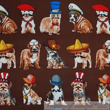 BonEful Fabric FQ Cotton Quilt Brown White Black B&W Sheriff DOG Costume Stripe