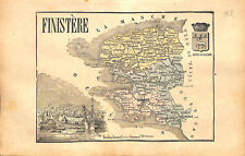 Département du Finistère Quimper Bretagne Gard Nîmes  France MAP CARTE 1873
