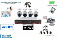 KIT VIDEOSORVEGLIANZA AHD IP CLOUD DVR + 4 TELECAMERE 2MPX HARD DISK 320GB