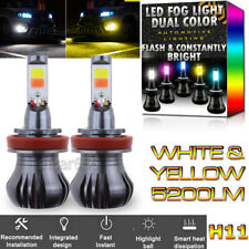 H11 H8 H9 H16 Upgrade LED Fog Light Bulb Dual Color w/ Flash Mode White + Yellow