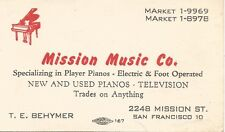 San Francisco Mission Music Company Business Card 1940s