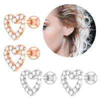 Surgical Steel Silver&Rose Gold Jewelry Heart Cartilage Helix Tragus Earpiercing
