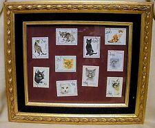 """New listing Vintage Lot of 10 Polish Cat Canceled Postal Stamps Framed in """"Gold"""" Wood Frame"""