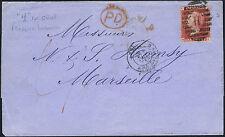 1864 1D Rouge PL 90 MK rare H annuler succursale étrangère