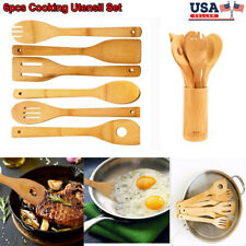 6pcs Wooden Cooking Utensil Set Bamboo Kitchen Spatula Spoon Wood Tool Nonstick