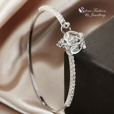 18K White Gold Plated Simulated Diamond Side Stone Sparkling Crown Silver Bangle