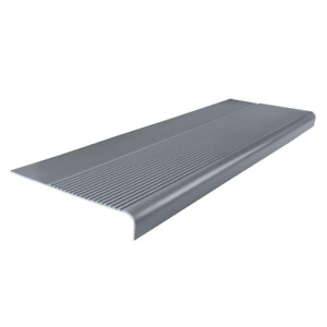 Light Duty Ribbed Design Gray 12-1/4 in. x 36 in. Rubber Round Nose Stair Tread