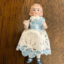 Antique All Bisque Jointed Doll 2 1/4� Molded Shoes Molded Curls