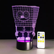 SpongeBob 3D Optical Night Light 7 Color Change Table Desk Decor Sleeping Lamp