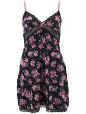 Marilyn Monroe Women's Black Rose Floral Chemise Nightgown