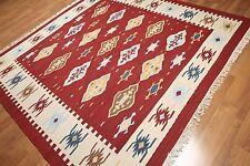 8' x 8' Southwestern Navajo kilim dhurry handmade area rug 100% wool square 8x8