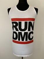 RUN DMC White Tank Top Vest Tee Logo 80s Rap Hip Hop Music Dance 90s S-M