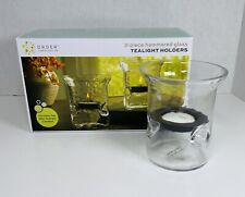 2 Piece~Hammered Glass Tealight Candle Holders Order Home Collection Decor Gift