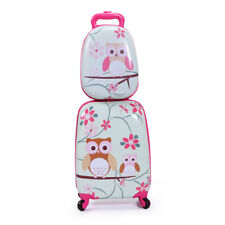 2Pc Kids Carry On Luggage Set Upright Hard Side Hard Shell Suitcase School Bag