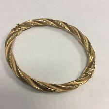"Grandma's Estate 14K Fine Gold Hinged Bangle Bracelet Marked Milor Italy 2 1/2"""
