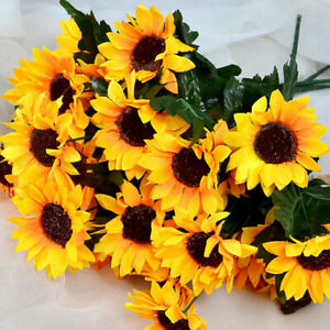 Sunflower Bright Yellow Artificial Flower Bush 15 Heads | Use Indoor And Outdoor