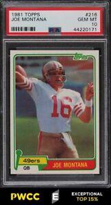 1981 Topps Football Joe Montana ROOKIE RC #216 PSA 10 GEM MINT (PWCC-E)