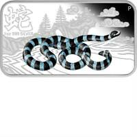 Cook 2013 $1 YEAR OF THE SNAKE Blue-Lipped Sea Krait 1 Oz Silver Rectangle Coin