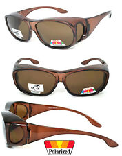 POLARIZED Cover Put Fit over Sunglasses wear Rx glass Fit Driving Brown