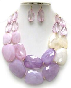 CHUNKY Multi Acrylic Stone Lavender Light Purple Double Necklace Set
