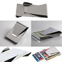 Slim Stainless Steel Card Credit Cash Holder ID Dollar Wallet Money Clip