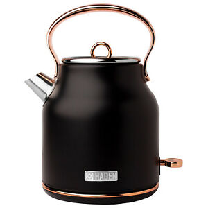 Haden Heritage Stainless Steel Electric Water and Tea Kettle, Copper and Black