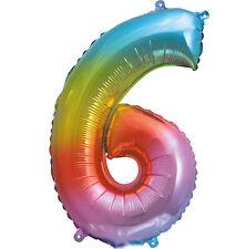 Folienballon Zahl Nr. 6 Regenbogen Metallic Größe 36cm Strohhalm zum Aufblasen