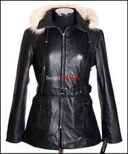 BEYONCE Ladies Fur Hooded Leather Jacket Black Classic Lambskin Leather Hoodie