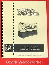 """Clausing Colchester 600 Vs 12"""" Metal Lathe Operator Parts Manual 0153"""
