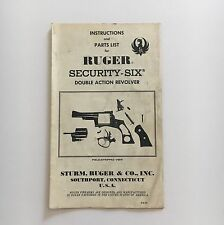Original 1970 Ruger Security Six Double Action Revolver 38 357 Owner's Manual