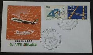Italy 1986 - 40th Anniversary Dell' Alitalia FDC - Rome postmark