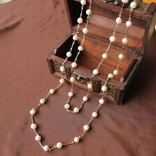Collier Long Sautoir Chaine Perle de Culture Blanc Plaqué Or Class TZ9