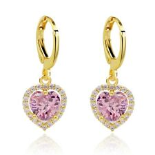 Elegant Ladies Drop Earrings Real 18K Gold Filled Sweet Heart Cubic Zircon