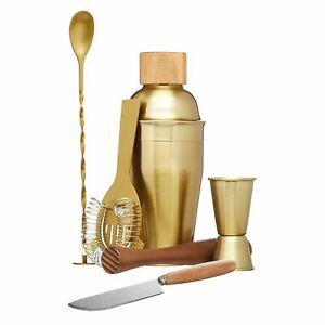 Brass Gold 6 Piece Cocktail Set Alcohol Drink Making Mixer Bar Accessories