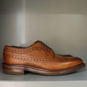 Loake Birkdale Brogue Shoes 7 ½ F in Brown Grain Calf, Dainite Soles (A02)