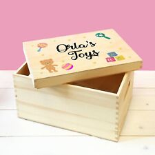 Personalised Babies Wooden Toy Storage Box with Lift Off Removable Lid Baby Toys