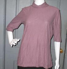 NWT womens HORNY TOAD Demure turtleneck knit top L Faded Plum NEW