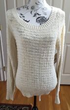 Free People Ivory Knit Cotton Open Back Women's Sweater Size Large